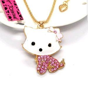 Betsey Johnson Pink Crystal Bow Cat Pendant Hot!!!